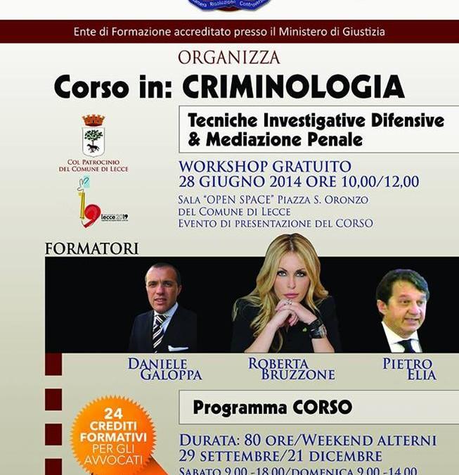 Corso in Criminologia con Dott.ssa Roberta Bruzzone